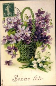 Ak Glückwunsch Geburtstag, Bonne Fete, Blumenkorb, Veilchen, Maiglöckchen
