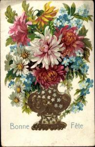 Präge Ak Glückwunsch Geburtstag, Bonne Fete, Blumen in einer Vase