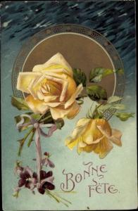 Ak Glückwunsch Geburtstag, Bonne Fete, gelbe Rosen, Veilchen