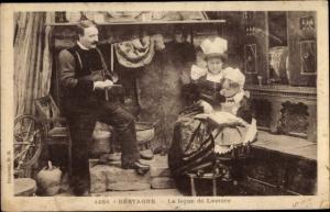 Ak Bretagne, La Lecon de Lecture, Trachten