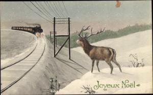 Ak Frohe Weihnachten, Hirsch, Winterlandschaft, Eisenbahn