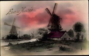 Ak Glückwunsch Neujahr, Bonne Année, Windmühlen