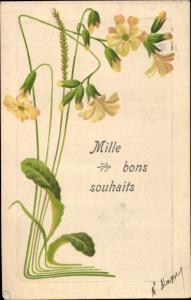 Präge Ak Glückwunsch, Mille bons souhaits, Blumen
