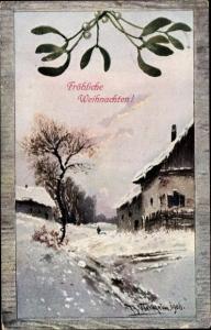 Künstler Ak Weilheim, A., Frohe Weihnachten, Winterlandschaft, Mistelzweig