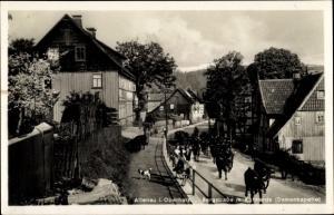 Ak Altenau Clausthal Zellerfeld im Oberharz, Bergstraße, Kuhherde, Damenkapelle