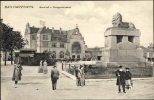 Ak Bad Harzburg am Harz, Bahnhof, Kriegerdenkmal