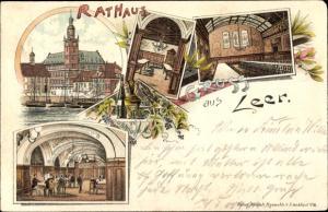 Litho Leer in Ostfriesland, Rathaus, aussen und innen