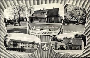 Ak Bohlenberge Zetel Friesland, Ehrenmal, Jugendherberge, Mittelschule, Jagdhütte, Geschäft, Wappen