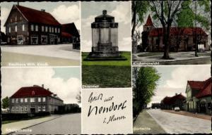 Ak Nendorf Stolzenau an der Mittelweser, Geschäft W. Knoch, Ehrenmal, Kirche, Schule, Dorfmitte