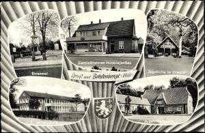 Wappen Ak Bohlenberge Zetel in Friesland, Ehrenmal, Jugendherberge, Schule, Geschäft, Jagdhütte