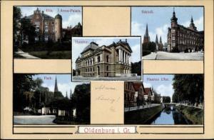 Ak Oldenburg in Niedersachsen, Elisabeth Anna Palais, Schloss, Theater, Park, Haaren Ufer