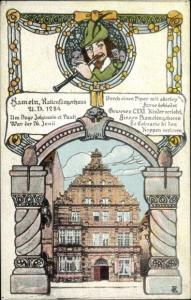 Künstler Ak Hameln in Niedersachsen, Rattenfängersage, Rattenfängerhaus