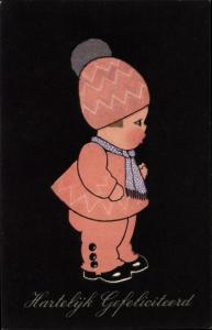 Ak Glückwunsch Geburtstag, Kind mit Mütze und Schal