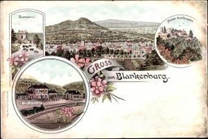 Litho Blankenburg am Harz, Eberstein, Ruine Greifenstein, Bahnhof, Panorama