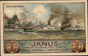 Künstler Ak Hamburg Altstadt Mitte, Janus Hamburger Versicherungs Aktien Gesellschaft, Salondampfer