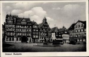 Ak Butzbach im Taunus Hessen, Marktplatz, Fachwerk