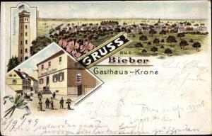 Litho Bieber Offenbach am Main Hessen, Gasthaus zur Krone, Aussichtsturm, Panorama vom Ort