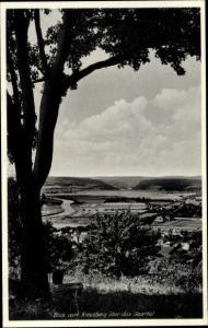 Ak Merzig an der Saar, Kreuzberg, Blick vom Berg auf die Ortschaft