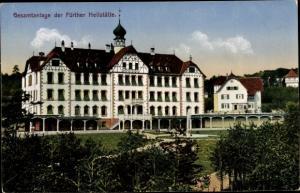Ak Fürth in Mittelfranken Bayern, Lungenheilstätte, Waldkrankenhaus, Wasserturm, Photochromie