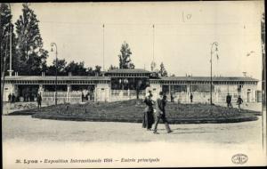 Ak Lyon Rhône, Exposition Internationale 1914, Entree principale