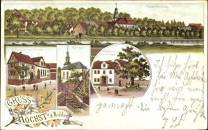 Litho Höchst an der Nidder Altenstadt in Hessen, Gasthaus zur Krone, Kirche, Gasthaus z. gold. Löwen