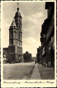 Ak Braunschweig in Niedersachsen, Andreaskirche, Waage