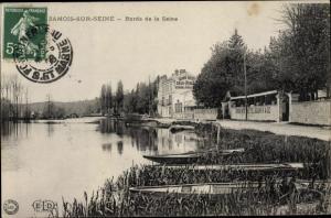 Ak Samois sur Seine Seine et Marne, Bords de la Seine