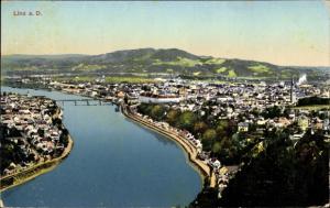 Ak Linz in Oberösterreich, Blick auf den Ort