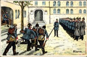 Ak Alarm, Deutsche Soldaten eilen zum Appell im Hof, Kaiserreich
