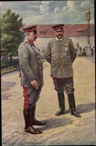 Künstler Ak Generalfeldmarschall Paul von Hindenburg, Kaiser Wilhelm II., Posen, 1915