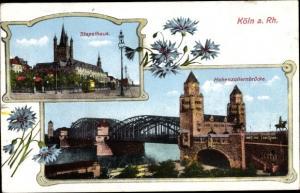 Passepartout Ak Köln am Rhein, Stapelhaus, Hohenzollernbrücke