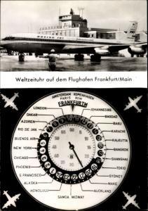 Ak Frankfurt am Main, Weltzeituhr auf dem Rhein Main Flughafen, Passagierflugzeug