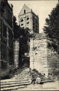 Ak Auvers sur Oise Val d'Oise, L'escalier de l'Eglise