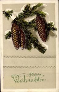 Präge Ak Glückwunsch Weihnachten, Tannenzapfen, Schnee