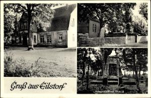 Ak Eilstorf Walsrode im Heidekreis, Kriegerdenkmal, Volksschule, Gasthaus W. Meyer