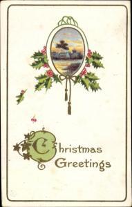 Präge Glitzer Ak Glückwunsch Weihnachten, Stechpalme