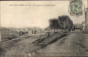 Ak Bray sur Seine Seine et Marne, Les Quais et le Bâteau Lavoir