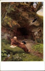 Künstler Ak Winkler, G., Einsiedler St Meinrad, Eremit, Am Lesen mit Krähen