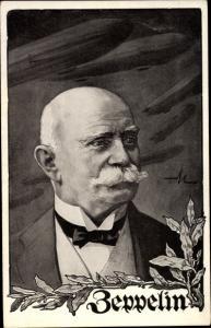 Künstler Ak Ferdinand Graf von Zeppelin, Portrait, Deutscher Luftflottenverein