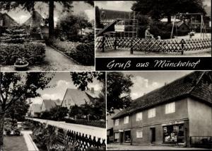 Ak Münchehof Seesen Niedersachsen, Spielplatz, Geschäft, Denkmal, Straßenpartie