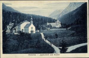 Ak Hinterriß Vomp in Tirol, Jagdschloss, Kloster, Berglandschaft