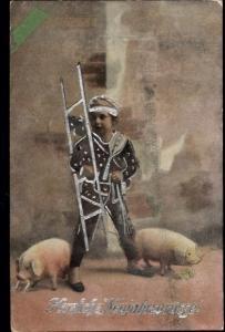 Ak Glückwunsch Neujahr, Schornsteinfeger, Schweine, Kleeblatt, Hufeisen
