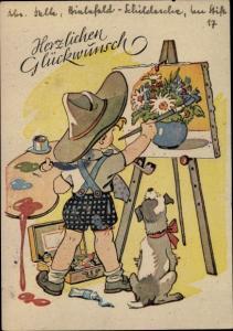 Künstler Ak Glückwunsch Geburtstag, Junge als Maler, Staffelei, gemalter Blumenstrauß, Hund
