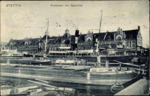 Ak Szczecin Stettin Pommern, Freihafen, Speicher