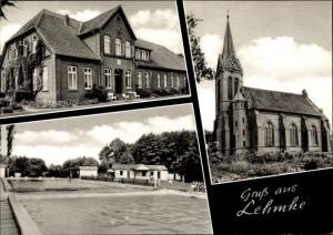 Ak Lehmke Uelzen in Niedersachsen, Schwimmbad, Kirche