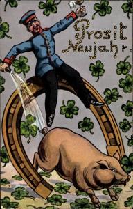 Ak Glückwunsch Neujahr, Kleeblatt, Hufeisen, Schwein