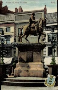 Ak Kingston upon Hull Yorkshire, Statue of King William, Wappen