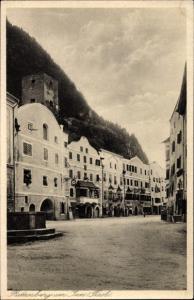 Ak Rattenberg in Tirol, Ortspartie mit Brunnen, Unterkunftshaus Holzalpe