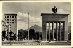 Ak Innsbruck in Tirol, Hochaus-Café mit Denkmal und Serles