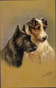 Künstler Ak Hundeportrait, zwei Terrier